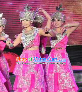 Chinese Traditional Zhuang Nationality Costumes Buyei Folk Dance Ethnic Dress for Women