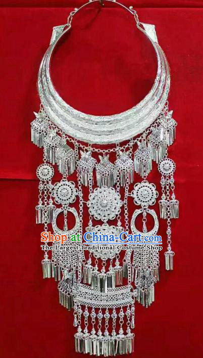 Chinese Traditional Miao Nationality Jewelry Accessories Ethnic Wedding Sliver Necklace for Women