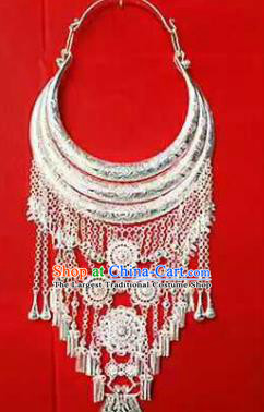 Chinese Traditional Miao Nationality Sliver Necklace Ethnic Wedding Jewelry Accessories for Women