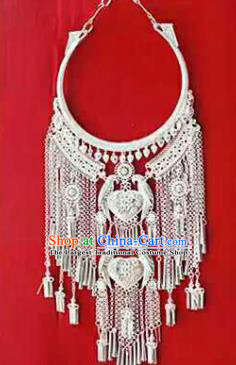 Chinese Traditional Dong Nationality Sliver Birds Necklace Ethnic Wedding Jewelry Accessories for Women