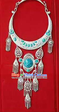 Chinese Traditional Dong Nationality Sliver Blue Necklace Ethnic Wedding Jewelry Accessories for Women