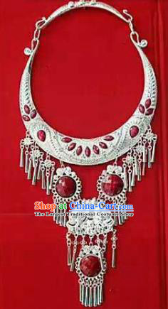 Chinese Traditional Dong Nationality Sliver Red Necklace Ethnic Wedding Jewelry Accessories for Women