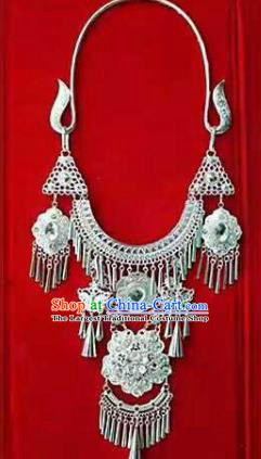 Chinese Traditional Miao Nationality Sliver Flowers Necklace Ethnic Wedding Jewelry Accessories for Women