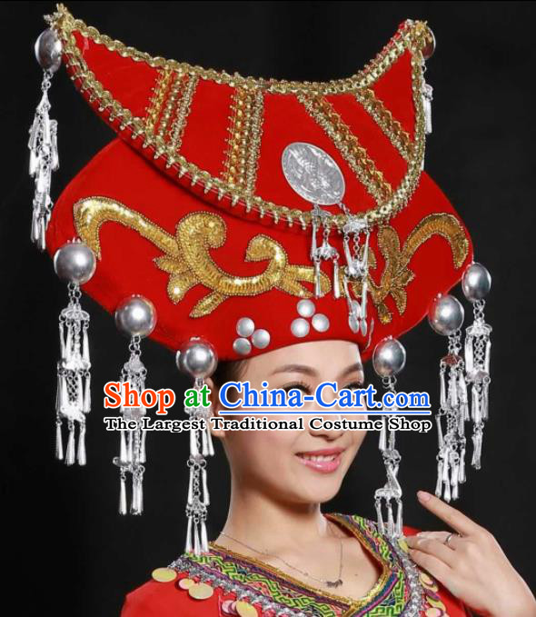 Traditional Chinese Zhuang Nationality Wedding Hat Ethnic Hair Accessories for Women