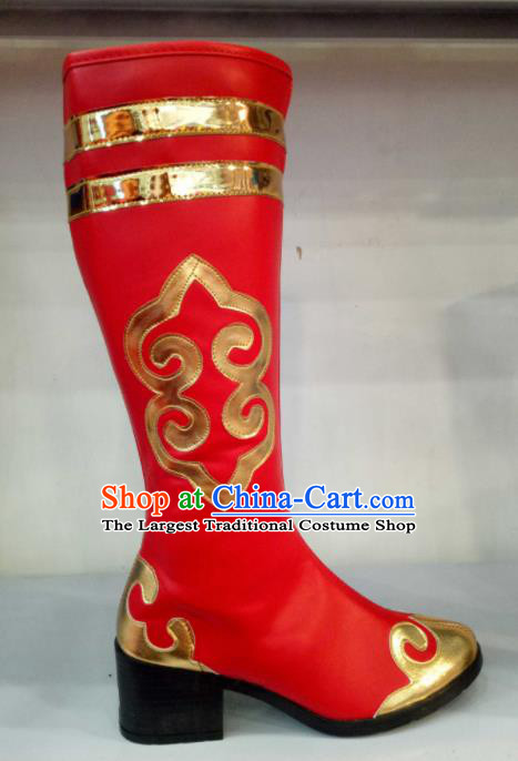 Chinese Traditional Mongol Nationality Shoes Mongolian Folk Dance Ethnic Red Boots for Women