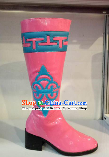 Chinese Traditional Mongol Nationality Shoes Mongolian Folk Dance Ethnic Pink Boots for Women
