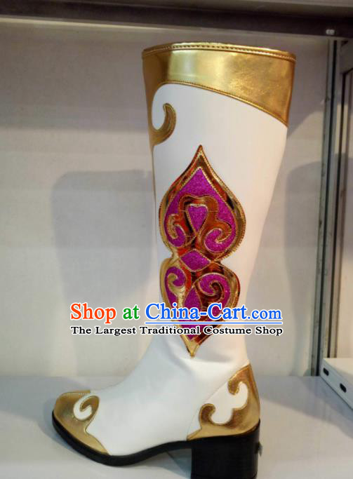 Chinese Traditional Mongolian Shoes Mongol Nationality Folk Dance White Boots for Women