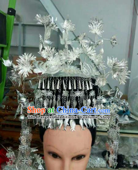 Traditional Chinese Miao Nationality Sliver Phoenix Coronet Hmong Ethnic Folk Dance Hair Accessories for Women