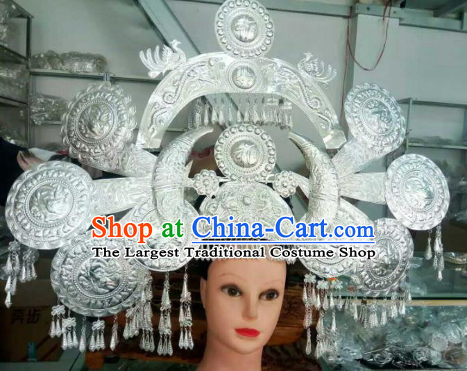 Traditional Chinese Miao Nationality Peacock Phoenix Coronet Hmong Ethnic Sliver Hair Accessories for Women