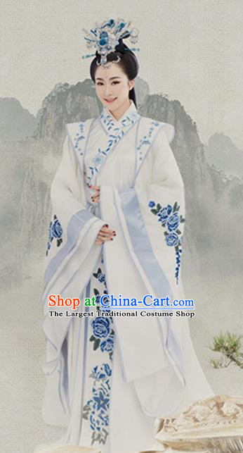 Chinese Ancient Han Dynasty Queen Hanfu Dress Traditional Drama Empress Embroidered Costumes and Headpiece Complete Set