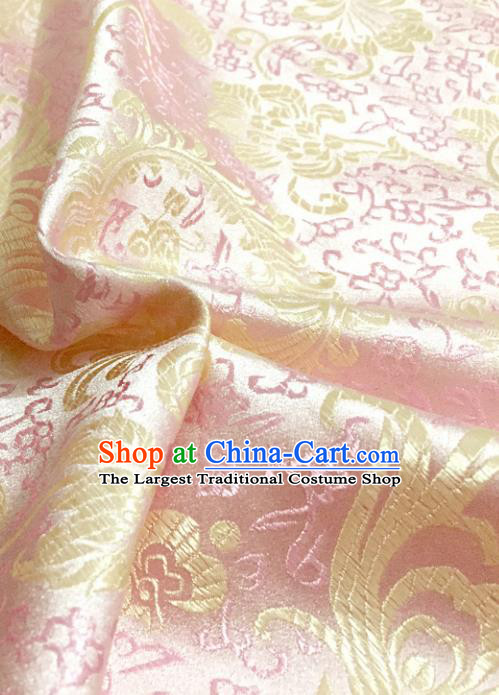 Chinese Traditional Pink Brocade Classical Ombre Flowers Pattern Design Silk Fabric Material Satin Drapery