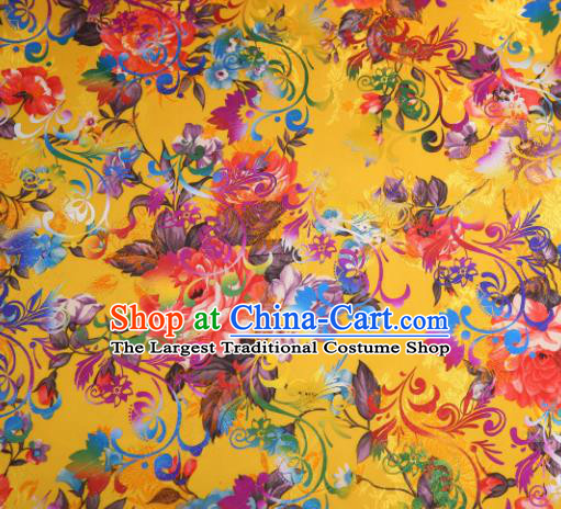 Chinese Traditional Yellow Brocade Classical Peony Flowers Pattern Design Silk Fabric Material Satin Drapery