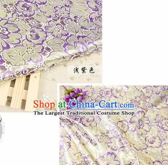 Chinese Traditional Purple Brocade Classical Peony Flowers Pattern Design Silk Fabric Material Satin Drapery