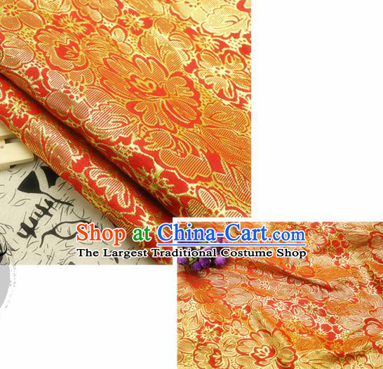 Chinese Traditional Red Brocade Classical Peony Flowers Pattern Design Silk Fabric Material Satin Drapery