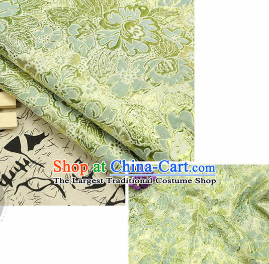 Chinese Traditional Light Green Brocade Classical Peony Flowers Pattern Design Silk Fabric Material Satin Drapery