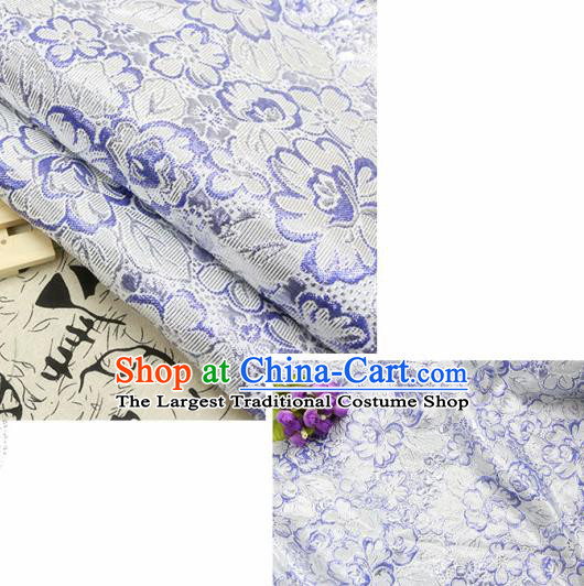 Chinese Traditional Lilac Brocade Classical Peony Flowers Pattern Design Silk Fabric Material Satin Drapery