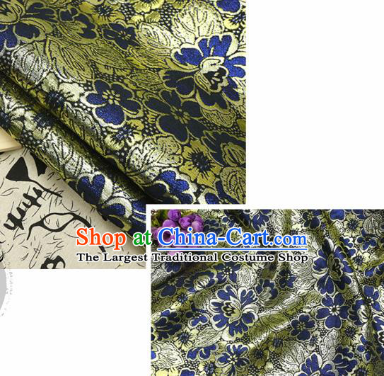Chinese Traditional Navy Blue Brocade Classical Peony Flowers Pattern Design Silk Fabric Material Satin Drapery