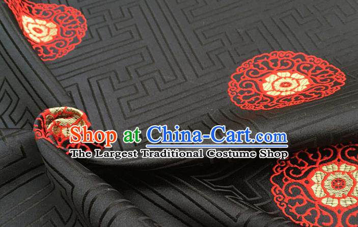 Chinese Traditional Tang Suit Black Brocade Classical Pattern Design Silk Fabric Material Satin Drapery