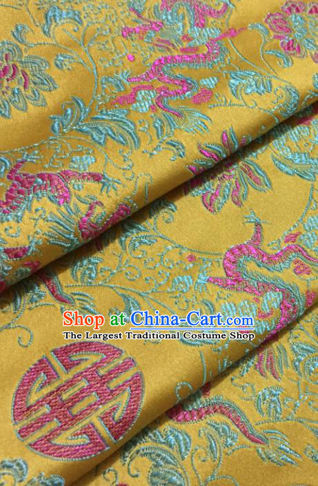 Chinese Traditional Tang Suit Yellow Brocade Classical Dragons Pattern Design Silk Fabric Material Satin Drapery
