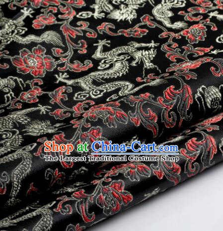 Chinese Traditional Tang Suit Black Brocade Classical Pattern Dragons Design Silk Fabric Material Satin Drapery