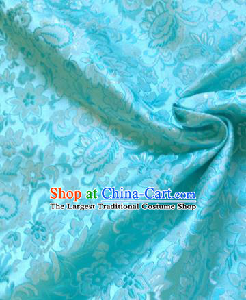 Chinese Traditional Tang Suit Light Blue Brocade Classical Pattern Dragons Design Silk Fabric Material Satin Drapery