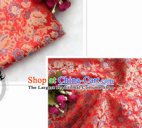 Chinese Traditional Red Brocade Classical Flowers Pattern Design Silk Fabric Material Satin Drapery