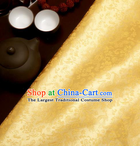 Chinese Traditional Yellow Brocade Classical Pattern Design Tang Suit Silk Fabric Material Satin Drapery