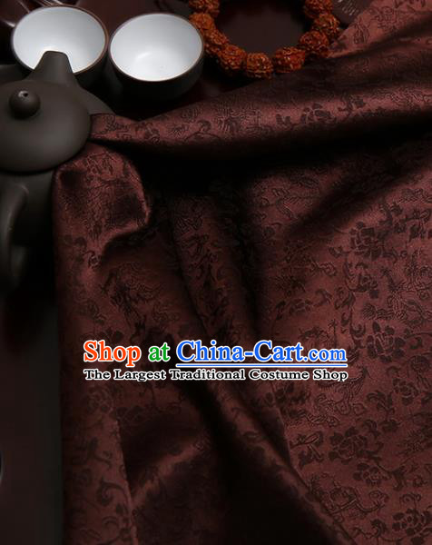 Chinese Traditional Brown Brocade Classical Pattern Design Tang Suit Silk Fabric Material Satin Drapery