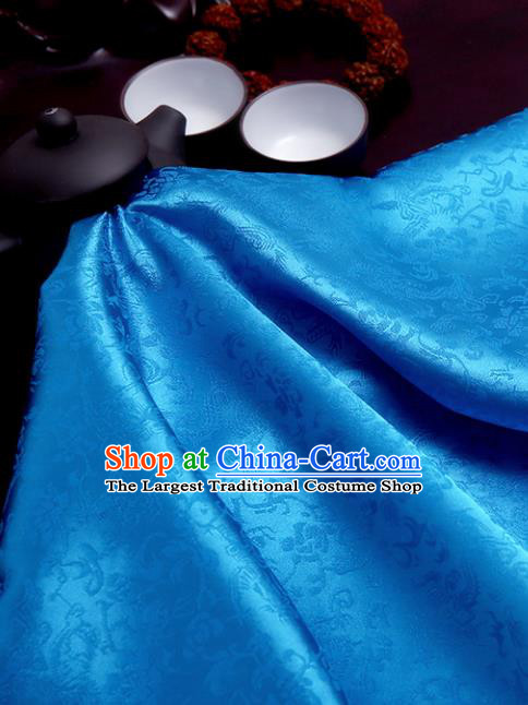 Chinese Traditional Blue Brocade Classical Pattern Design Tang Suit Silk Fabric Material Satin Drapery