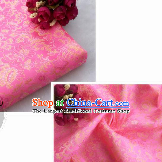 Chinese Traditional Pink Brocade Classical Flowers Pattern Design Silk Fabric Material Satin Drapery