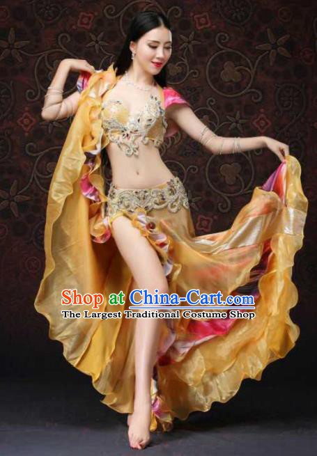 Top Grade Belly Dance Costumes Professional Oriental Dance Golden Dress for Women