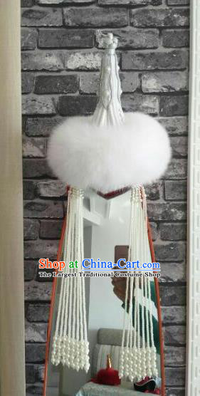Chinese Traditional Mongol Nationality Dance Hair Accessories Mongolian Ethnic White Hat for Women