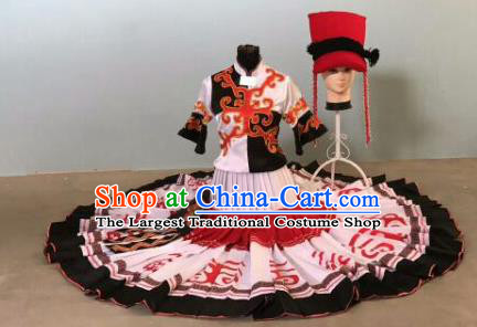 Chinese Traditional Qiang Nationality Costumes Ethnic Folk Dance Dress and Hat for Women