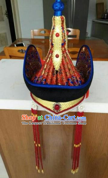 Chinese Traditional Mongol Nationality Headwear Mongolian Dance Ethnic Hat for Women
