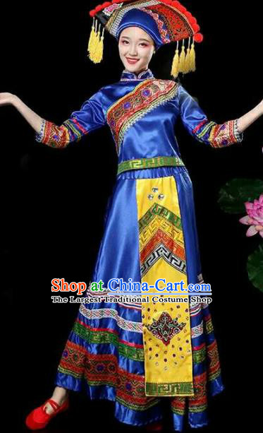 Chinese Traditional Zhuang Nationality Costumes Ethnic Folk Dance Blue Dress and Hat for Women