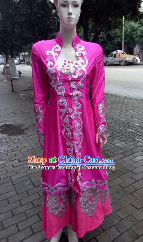 Chinese Traditional Kazak Nationality Costumes Kazakhs Ethnic Folk Dance Rosy Dress for Women