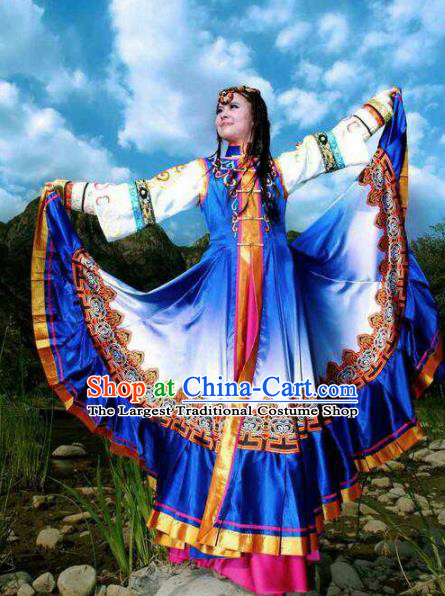 Chinese Traditional Zang Nationality Costumes Tibetan Ethnic Folk Dance Blue Dress for Women