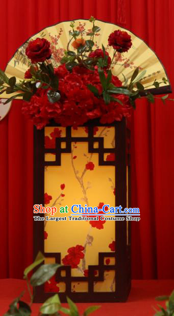 Chinese Traditional Palace Lantern Plum Blossom Desk Lamp Carving Wood LED Light