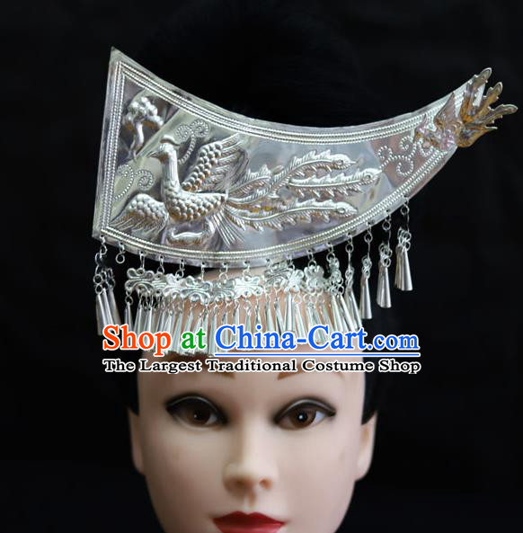 Chinese Traditional Miao Nationality Hair Accessories Carving Sliver Phoenix Coronet Hairpins for Women