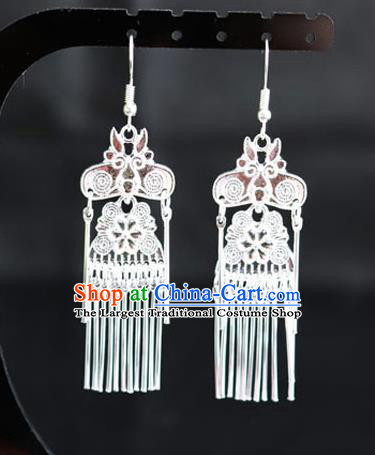 Chinese Traditional Miao Nationality Wedding Accessories Sliver Tassel Earrings for Women
