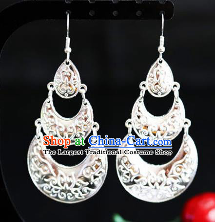 Chinese Traditional Miao Nationality Accessories Wedding Sliver Tassel Earrings for Women