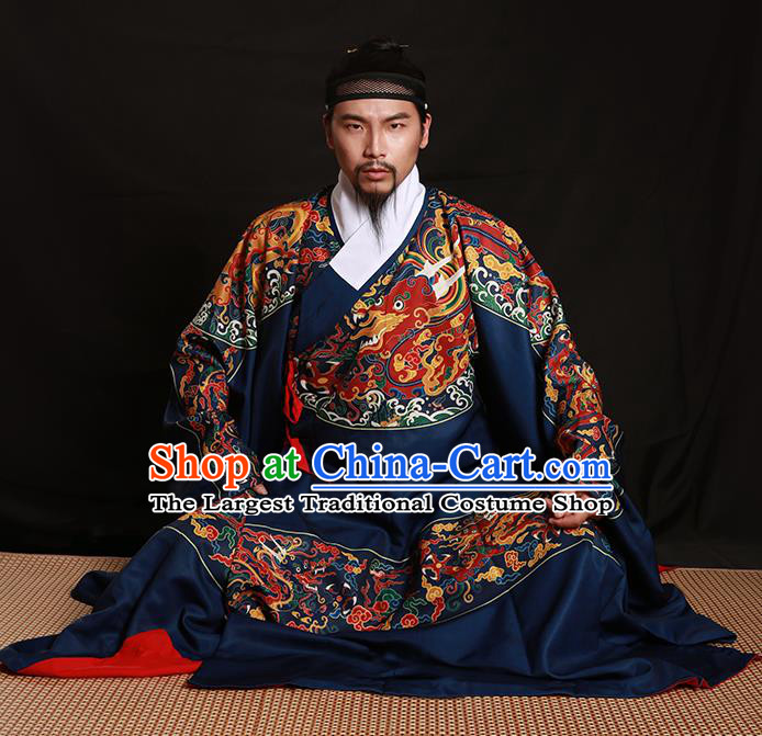 Chinese Traditional Ming Dynasty Imperial Bodyguard Clothing Ancient Blads Embroidered Blue Costumes for Men