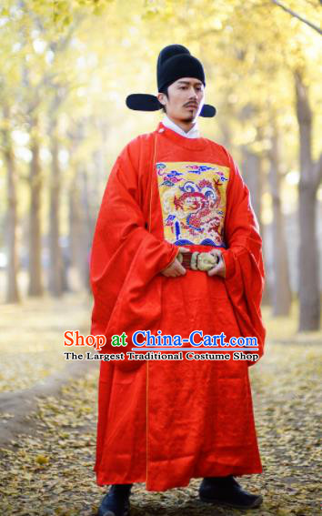 Chinese Traditional Ming Dynasty Minister Clothing Ancient Officer Embroidered Costumes for Men
