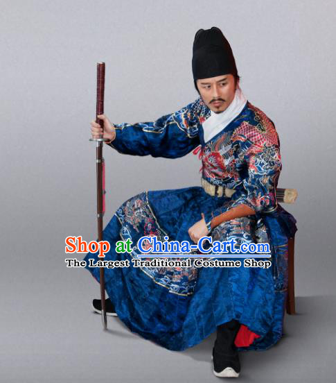 Chinese Traditional Ming Dynasty Swordsman Clothing Ancient Blades Embroidered Blue Costumes for Men