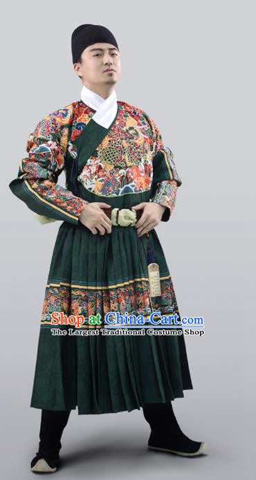 Chinese Traditional Ming Dynasty Swordsman Clothing Ancient Blades Embroidered Green Costumes for Men