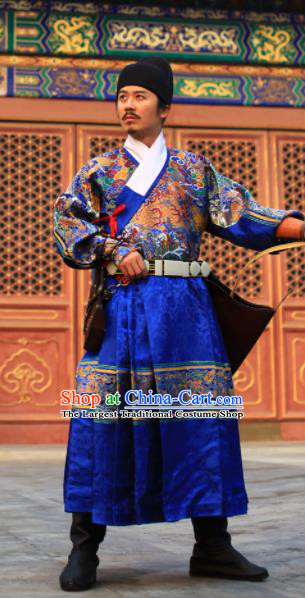 Chinese Traditional Ming Dynasty Imperial Guards Clothing Ancient Blades Embroidered Blue Costumes for Men