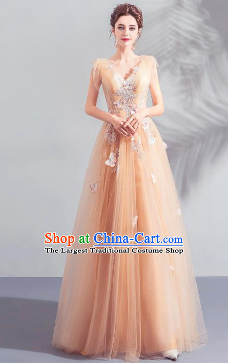 Top Grade Handmade Catwalks Costumes Compere Orange Full Dress for Women