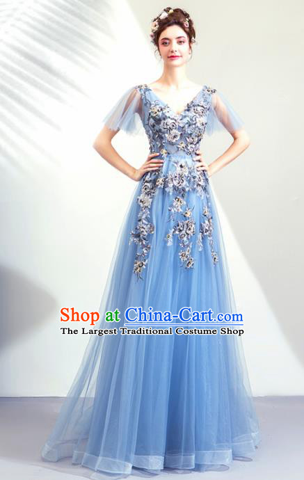 Top Grade Handmade Catwalks Costumes Compere Blue Full Dress for Women