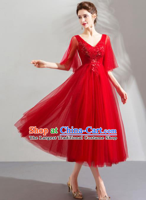 Top Grade Handmade Catwalks Costumes Compere Red Veil Full Dress for Women