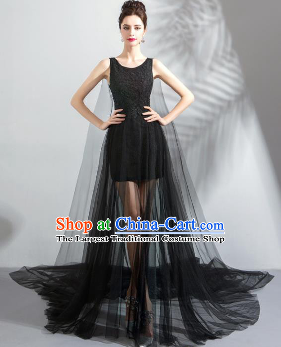 Top Grade Handmade Catwalks Costumes Compere Black Veil Full Dress for Women